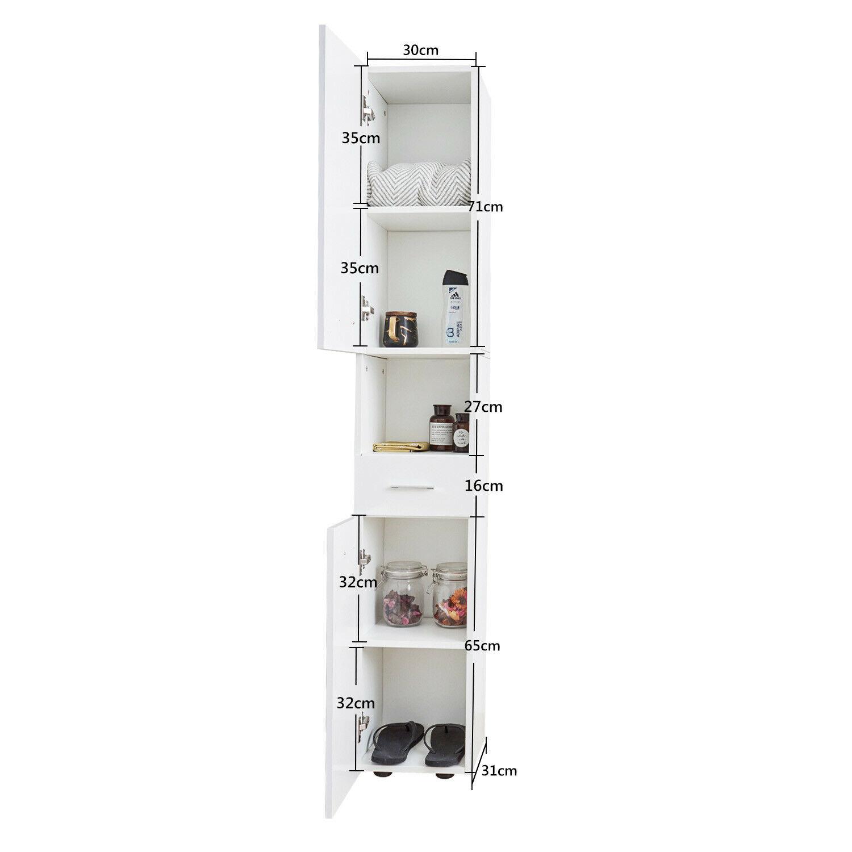 White Tall Bathroom Cabinet Cupboard Tallboy Chest Drawer ...