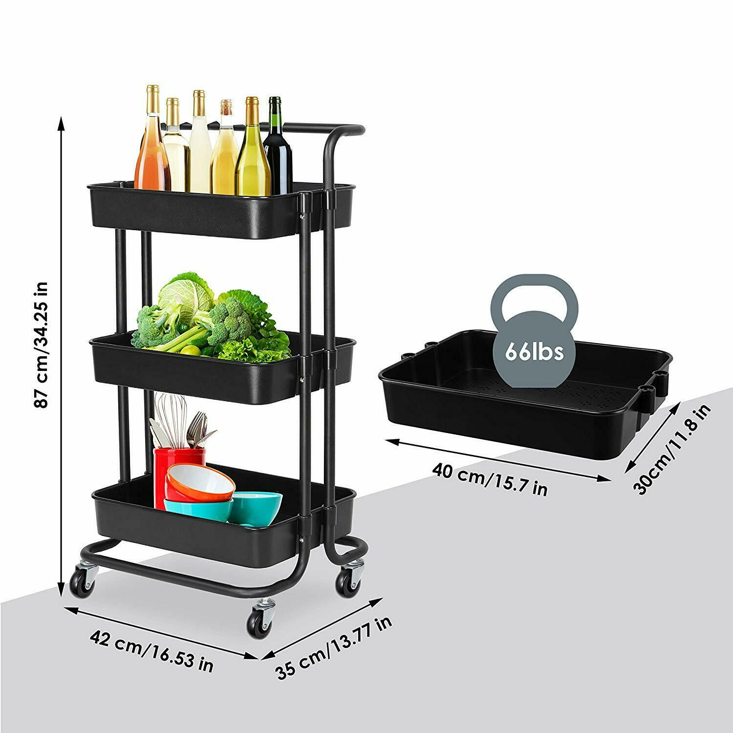 Kitchen Bathroom Trolley Cart 3 Tiers Portable Rolling ...