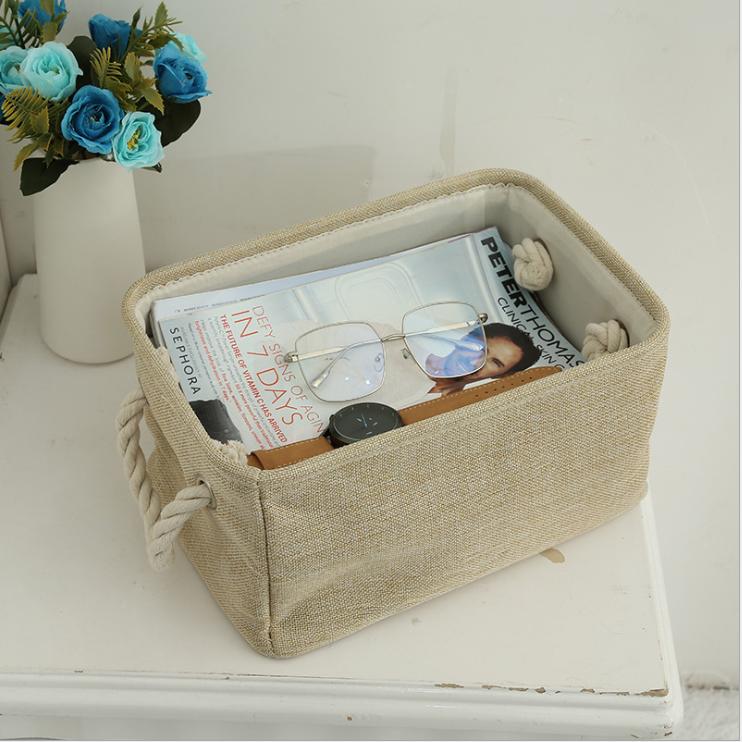 Foldable Storage Baskets Bins Desktop Box Canvas Fabric Organizer Cute Holder