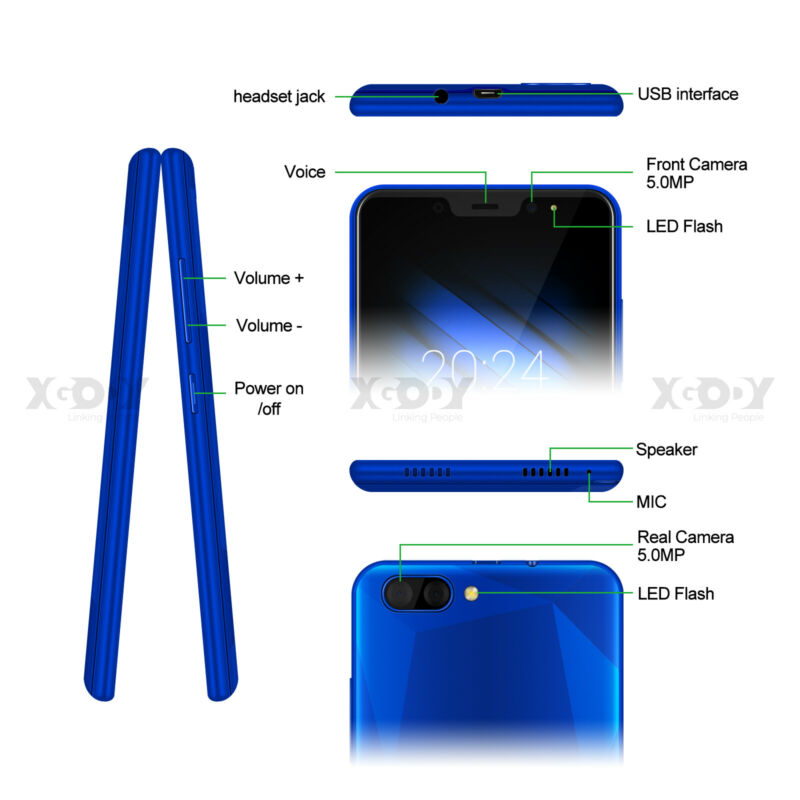 Android9-0-Dual-SIM-SMARTPHONE-CELLULARE-16-GB-ROM-QuadCore-Sbloccato-5-0-Pollic miniatura 11