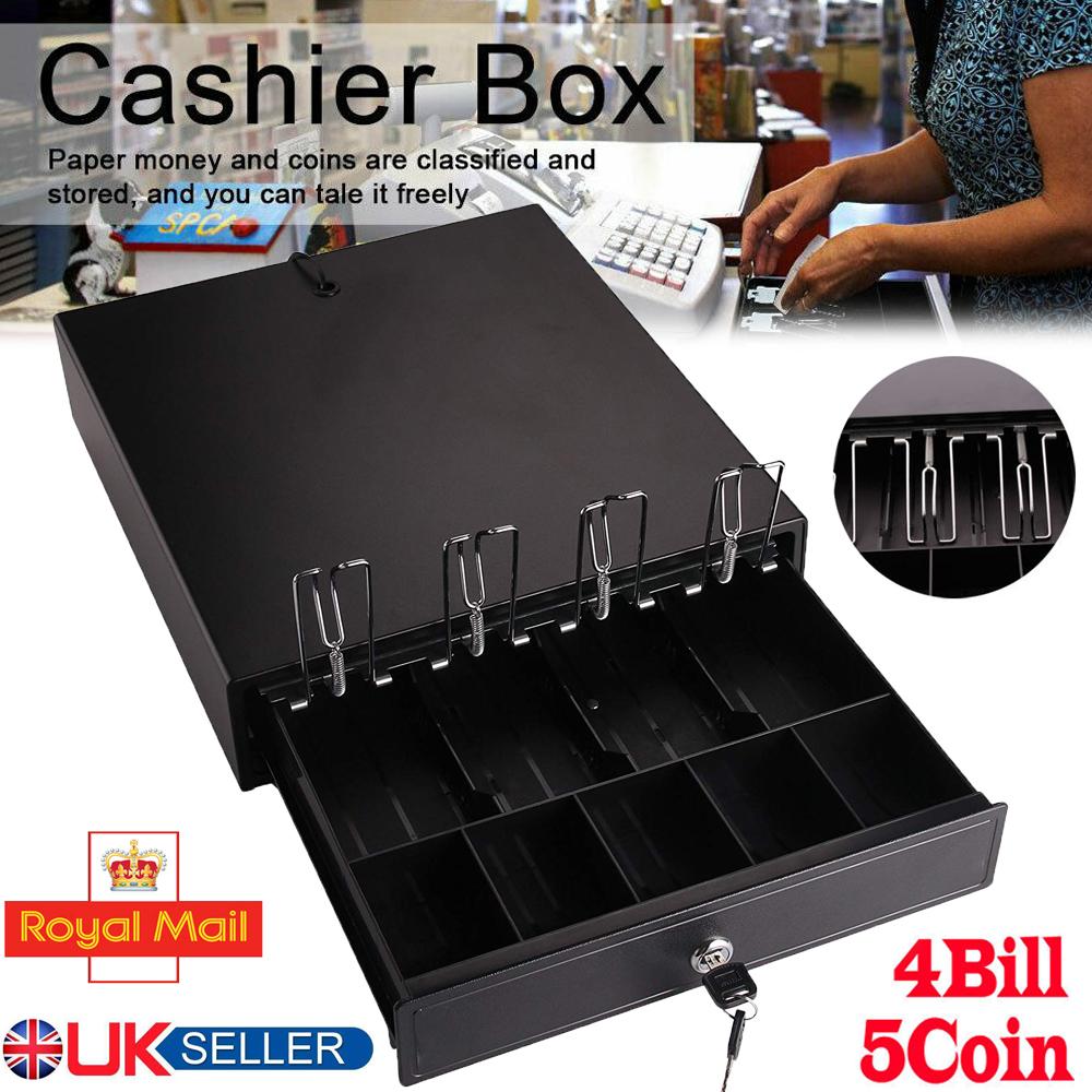 Cash Drawer Till Register Heavy Duty Removable Cash Tray Draw 4 Bills 5 Coins