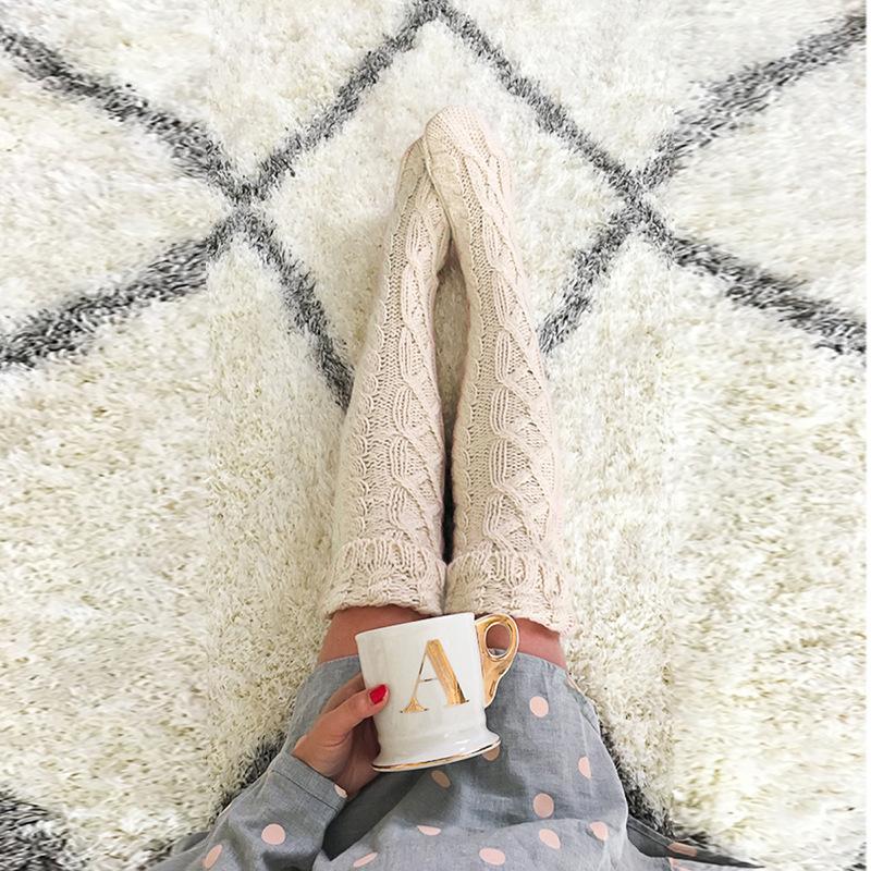 Femme-Fille-Longue-Haute-Chaussettes-Jambieres-Guetre-Genou-Bas-Collant-Lingerie miniature 17