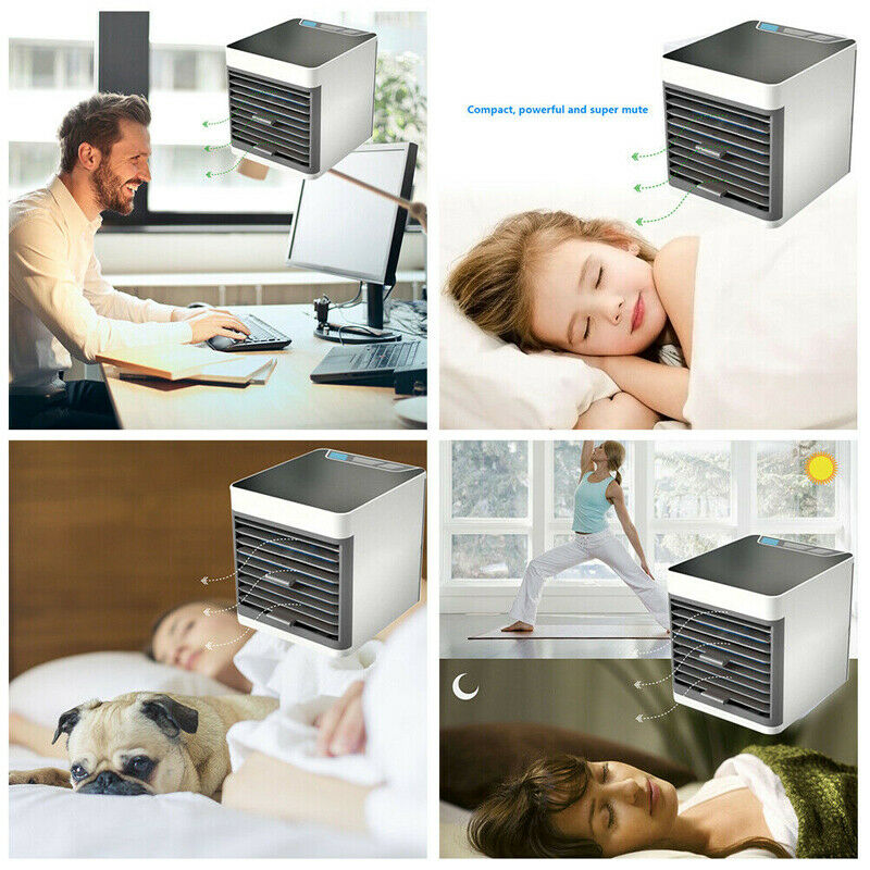 Mini Refroidisseur D'air Climatiseur Humidificateur Mobile Fan Ventilateur Cool 9