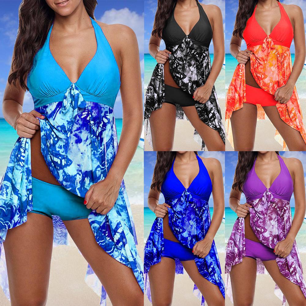 Damen Bikini Set Bademode Badeanzug Beachwear Tankini Set Boxershorts Badekleid