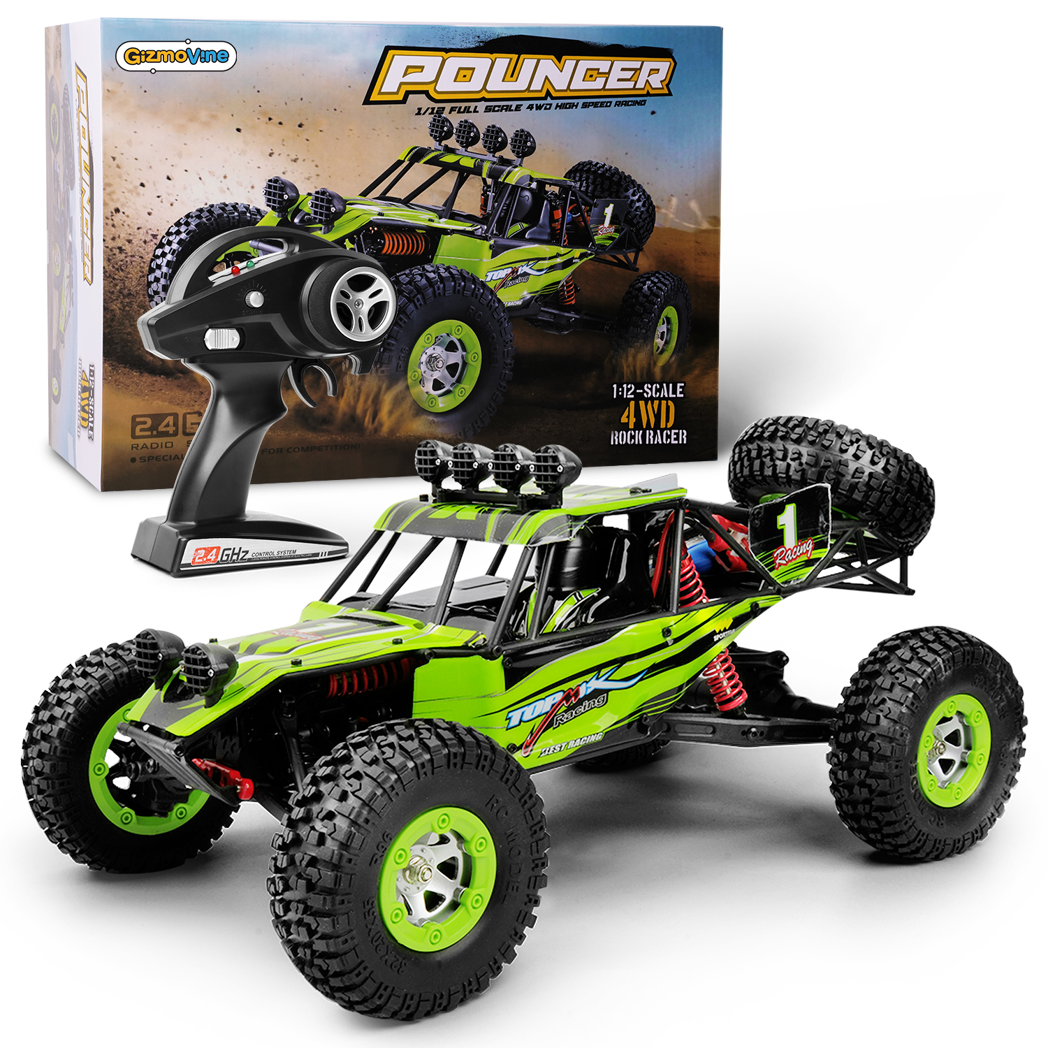 Gizmovine Rc Cars 4x4 Off Road Remote Control Car 1 12 Scale Large Rtr Uk Ebay