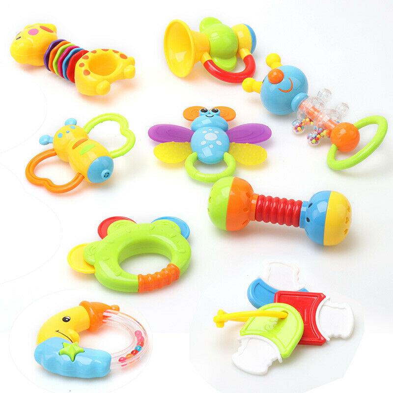 9tlg//Set Baby Spielzeug Motorik Rasseln Greiflinge Rassel Babyrassel