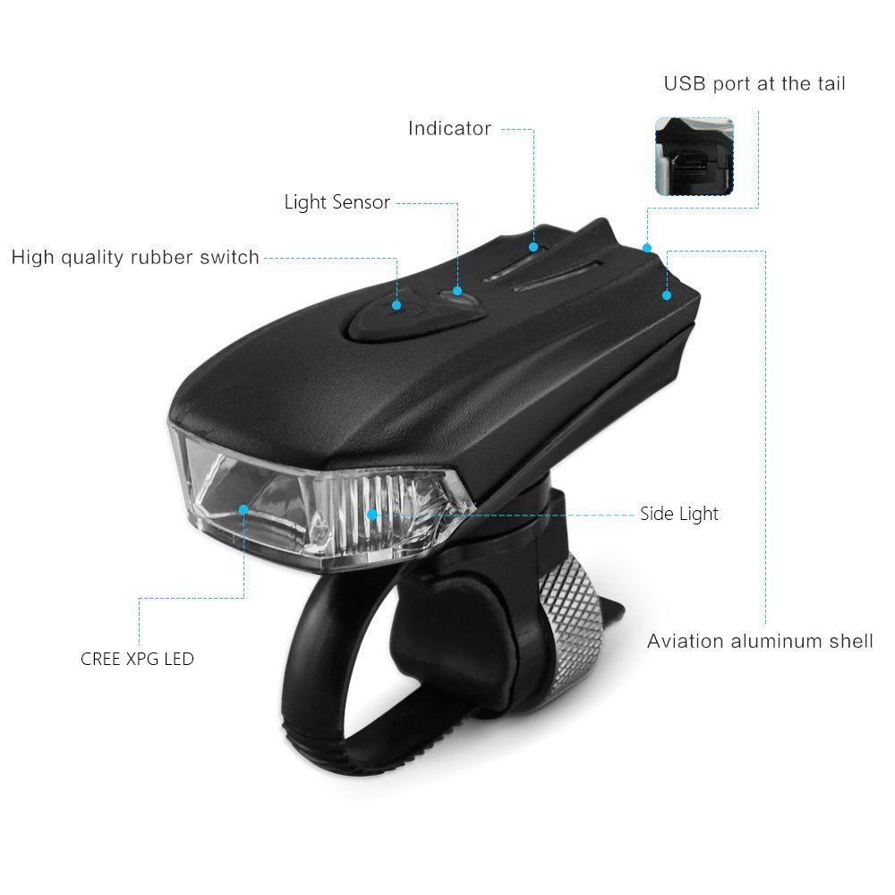 usb fahrradlampe led fahrrad licht fahrradbeleuchtung. Black Bedroom Furniture Sets. Home Design Ideas