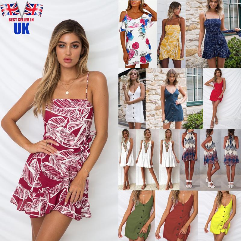 df77e2bd363ab Details about Womens Summer Buttons Beach Wear Bikini Cover Up Boho Printed  Mini Sun Dress Hot