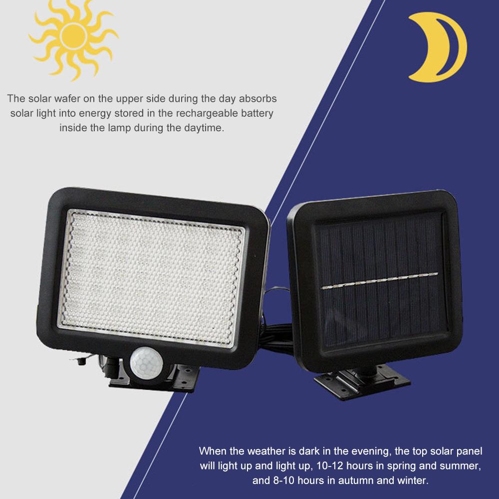 100LED-Solarleuchte-mit-Bewegungsmelder-Solarstrahler-Aussenleuchte-Gartenlampe Indexbild 14