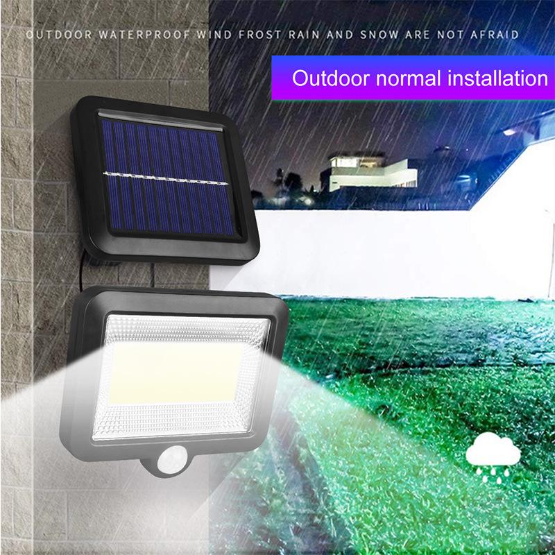 100LED-Solarleuchte-mit-Bewegungsmelder-Solarstrahler-Aussenleuchte-Gartenlampe Indexbild 24