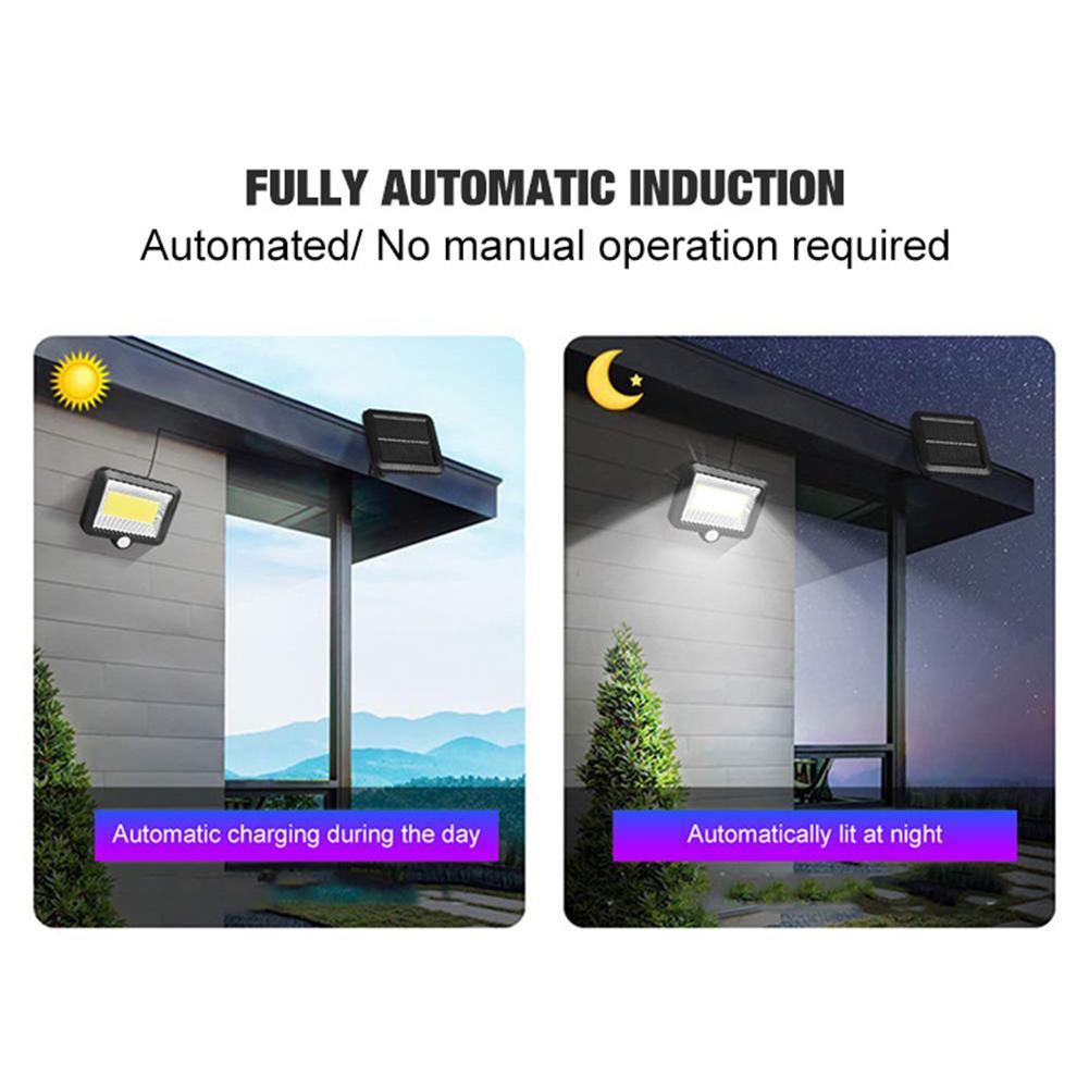100LED-Solarleuchte-mit-Bewegungsmelder-Solarstrahler-Aussenleuchte-Gartenlampe Indexbild 26