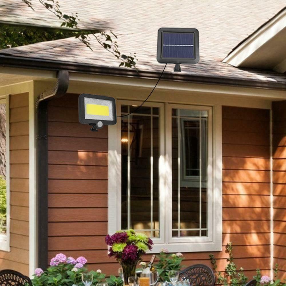 100LED-Solarleuchte-mit-Bewegungsmelder-Solarstrahler-Aussenleuchte-Gartenlampe Indexbild 28