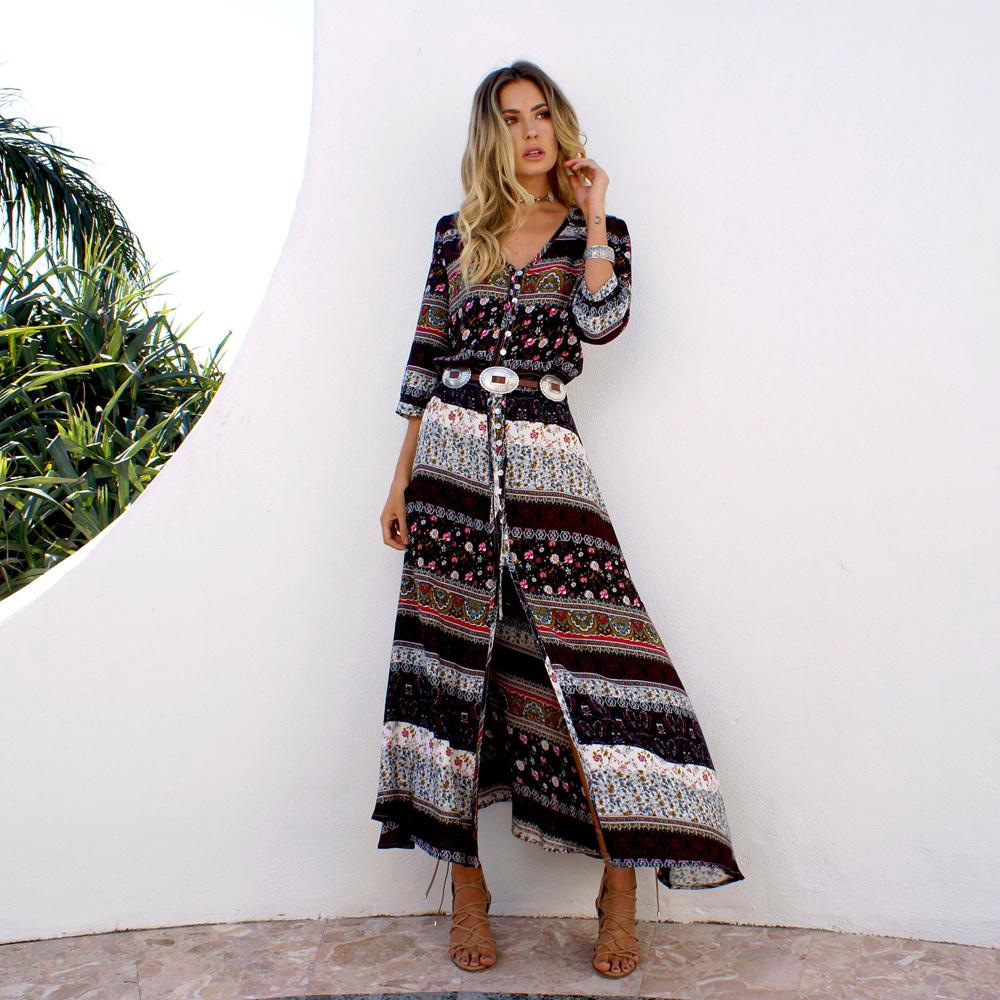 Damen Hippie Sommerkleid Maxikleid Freizeit Abendkleid ...