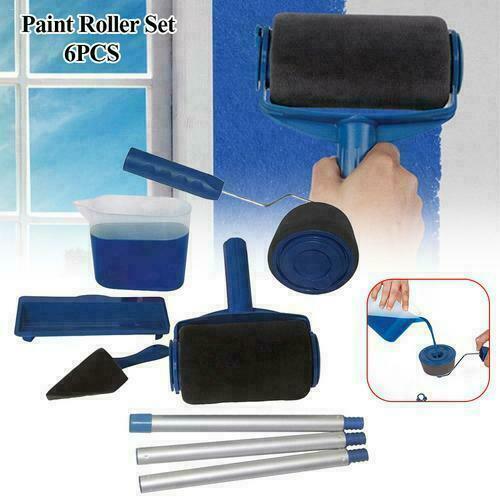 6 outils Pro Paint Roller Brush rouleau de peinture avec réservoir kit peinture 11