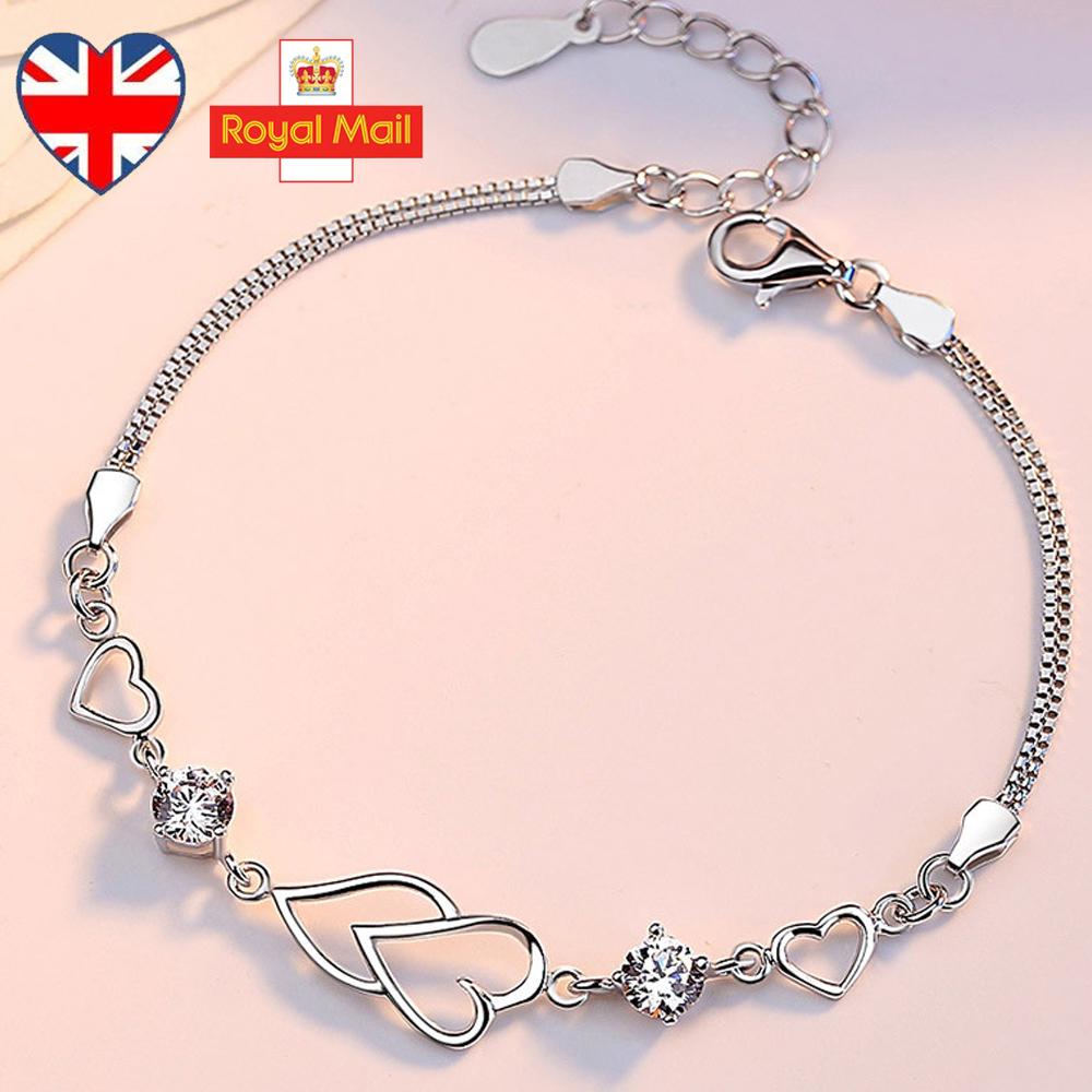 UK 925 Sterling Silver Valentine Open Heart Bracelet Charm Jewellery Womens Xmas