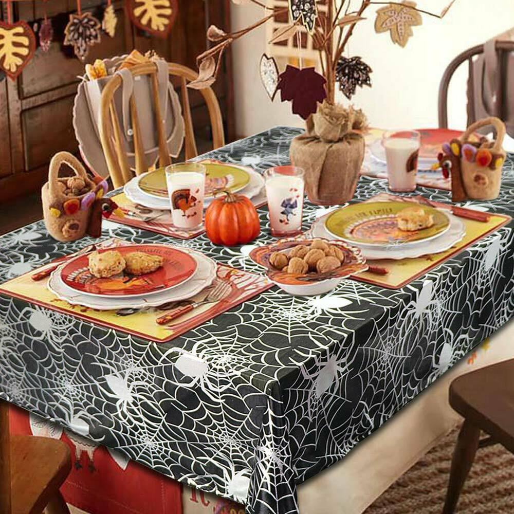 Halloween-Spider-Web-Tablecloth-Polyester-Party-Table-Cloth-Cover-Home-Bar-Decor thumbnail 3