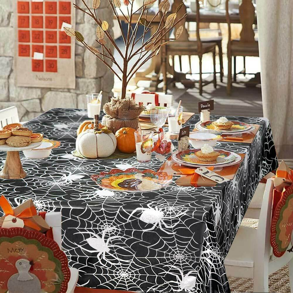 Halloween-Spider-Web-Tablecloth-Polyester-Party-Table-Cloth-Cover-Home-Bar-Decor thumbnail 6