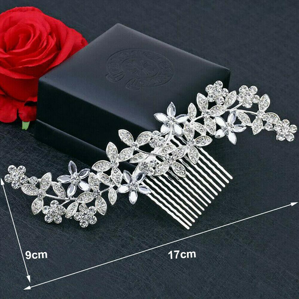 UK Flower Wedding Hair Pins Bridesmaid Crystal Diamante