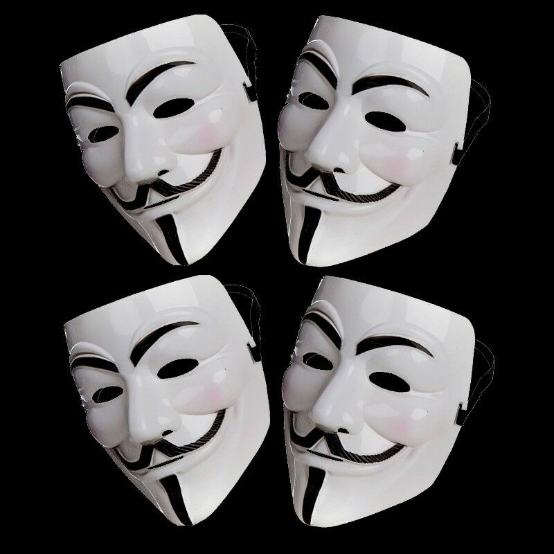 4x Anonymous Hacker V For Vendetta Games Master Face Mask Fancy