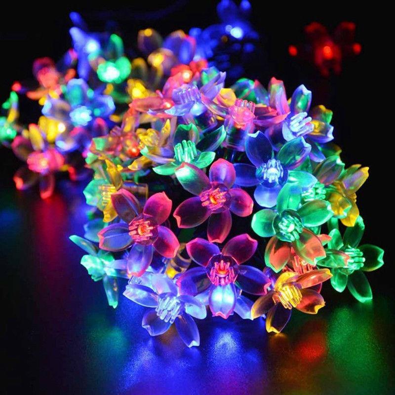 5m 50 Led Solar Blumen Lichterkette Solarlampen