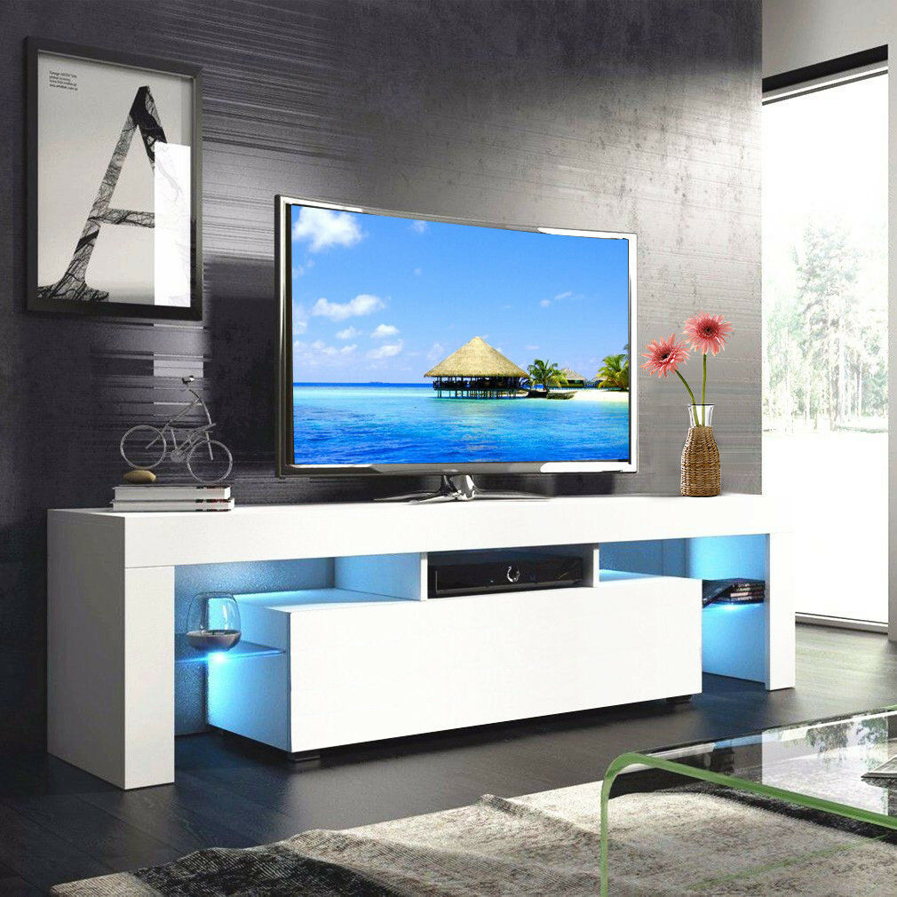 thumbnail 11 - Modern TV Stand Cabinet w/ LED Light for 65 Inch TV Media Storage Console Table