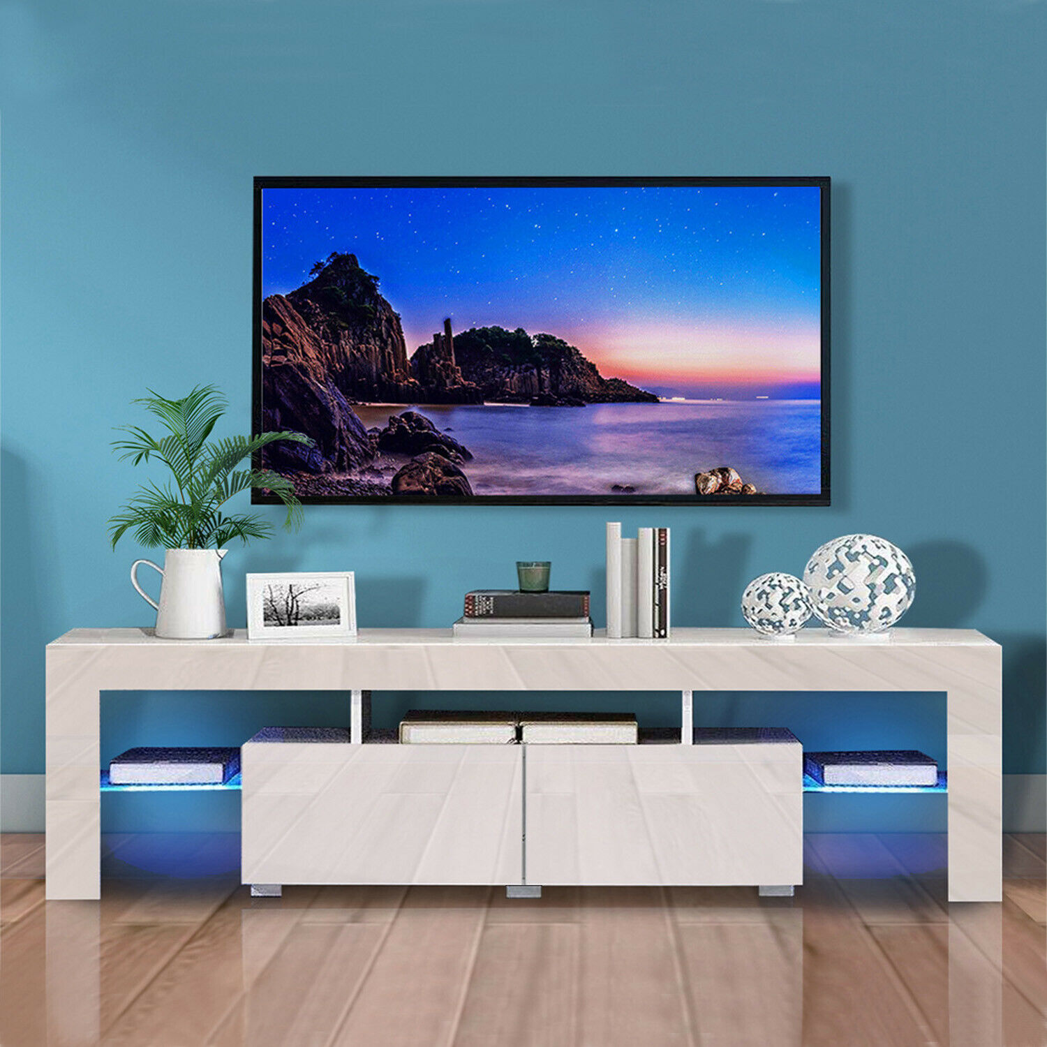 thumbnail 12 - Modern TV Stand Cabinet w/ LED Light for 65 Inch TV Media Storage Console Table