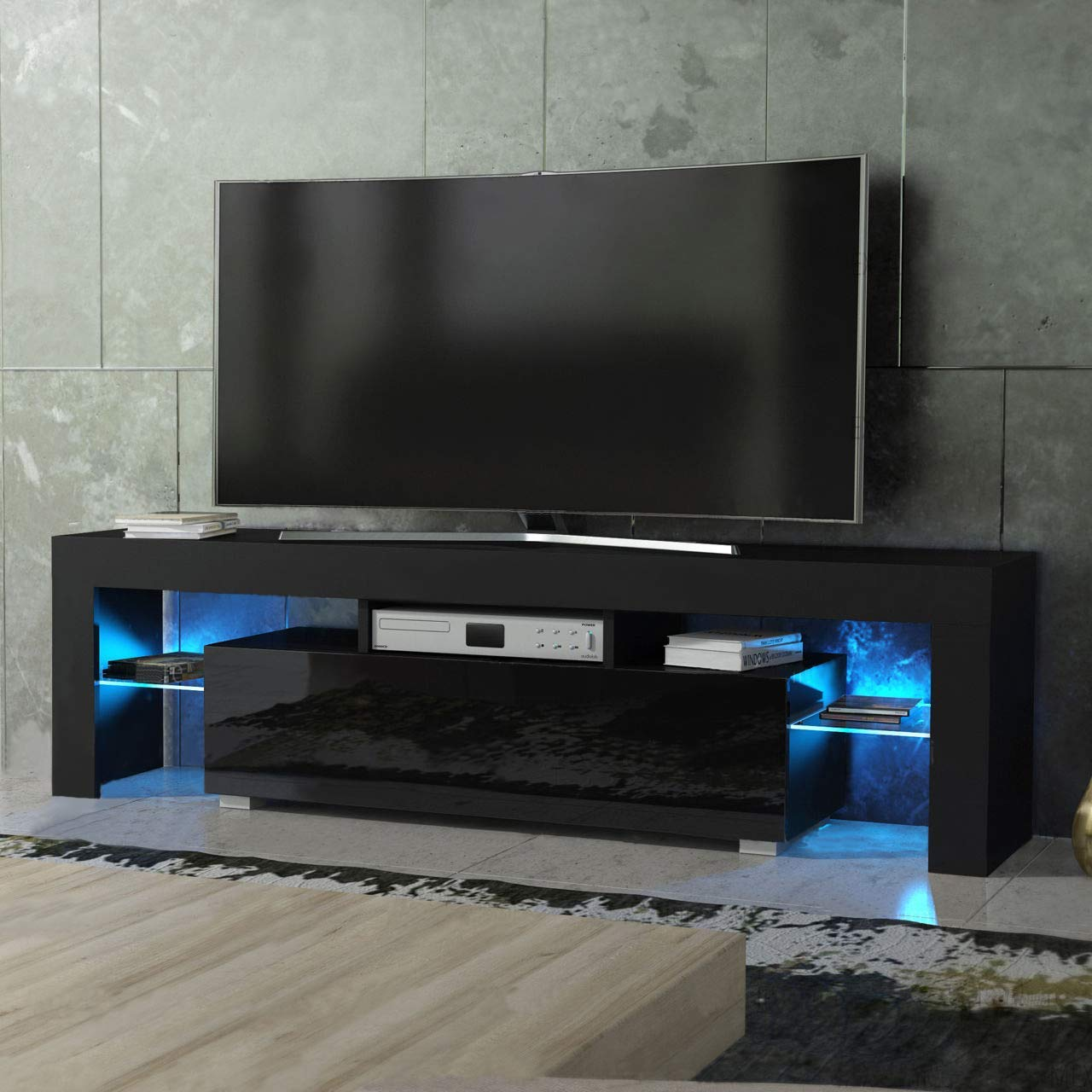 thumbnail 14 - Modern TV Stand Cabinet w/ LED Light for 65 Inch TV Media Storage Console Table