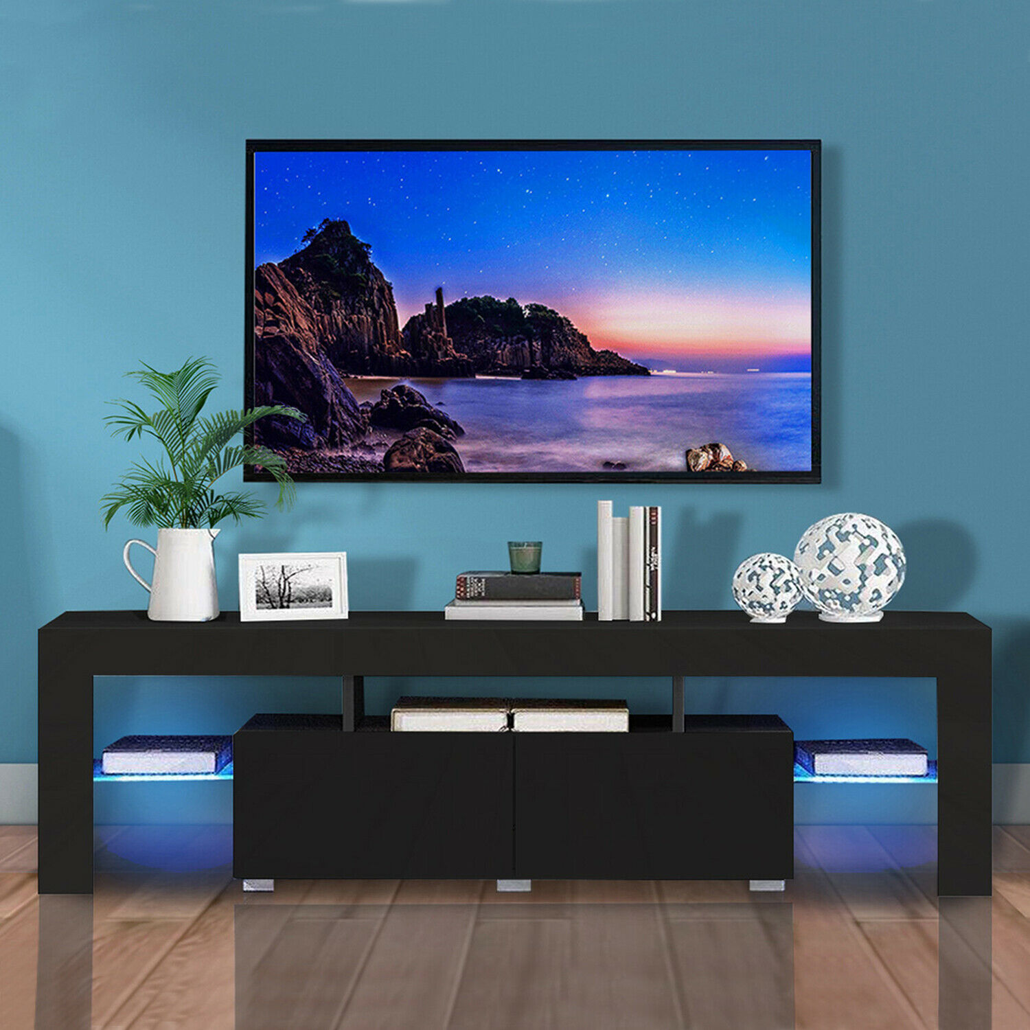 thumbnail 15 - Modern TV Stand Cabinet w/ LED Light for 65 Inch TV Media Storage Console Table