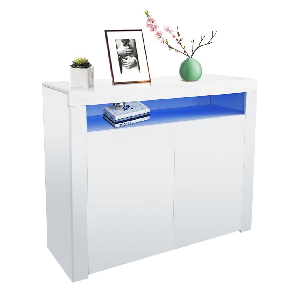 thumbnail 3 - Modern 2 Doors Sideboard Kitchen Buffet High Gloss Matt Body LED Storage Cabinet
