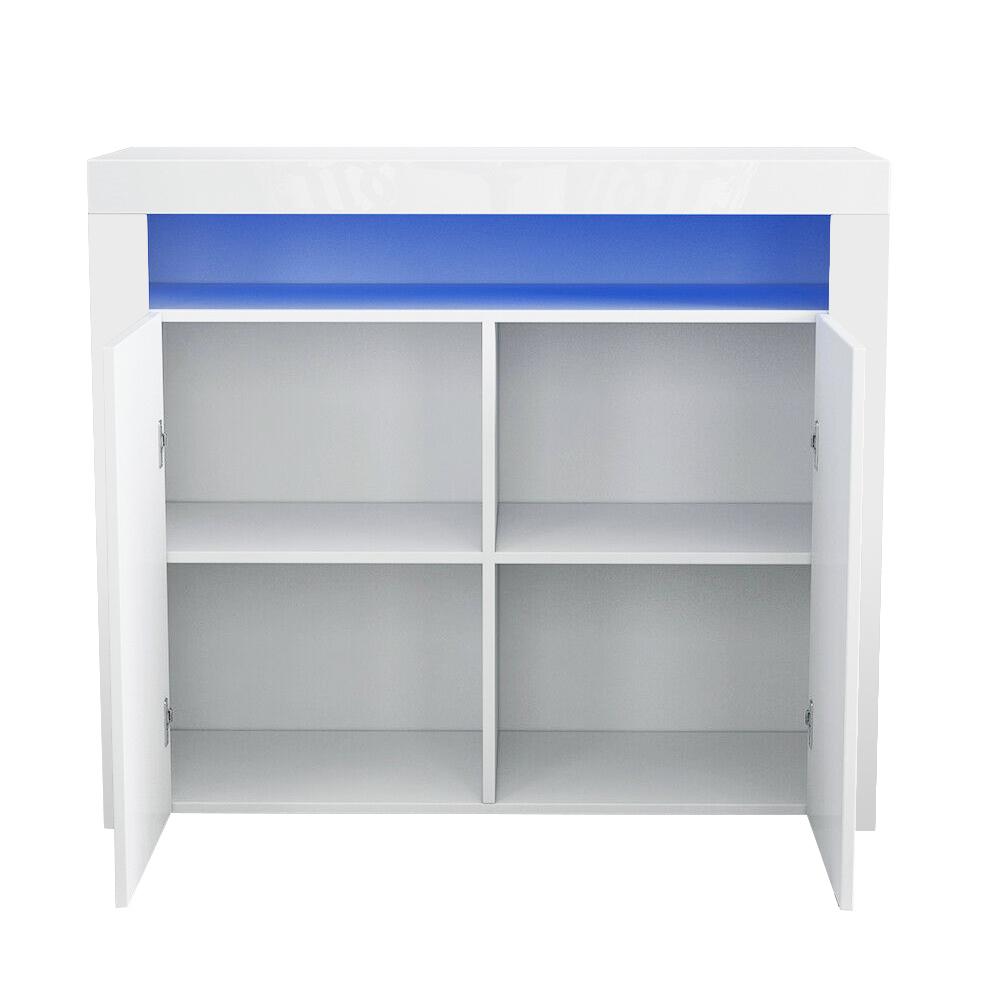 thumbnail 4 - Modern 2 Doors Sideboard Kitchen Buffet High Gloss Matt Body LED Storage Cabinet