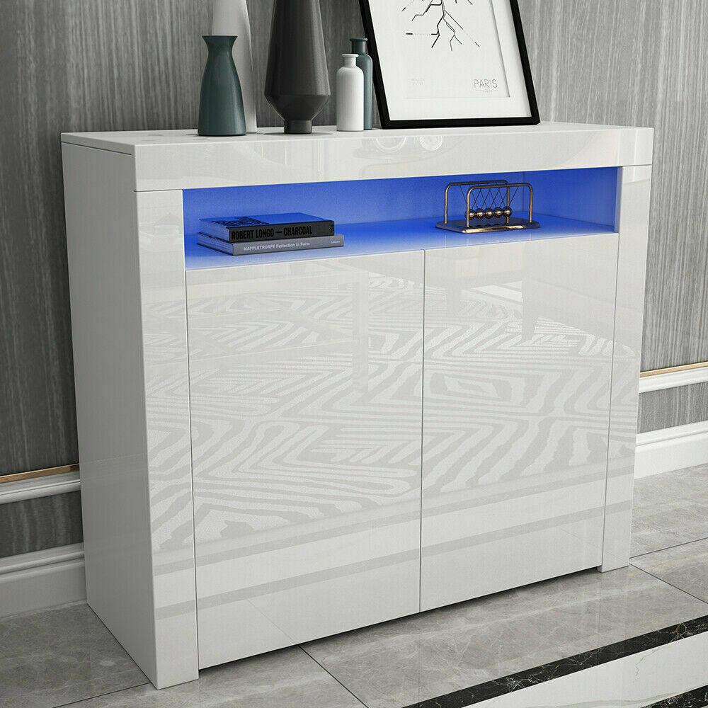 thumbnail 5 - Modern 2 Doors Sideboard Kitchen Buffet High Gloss Matt Body LED Storage Cabinet