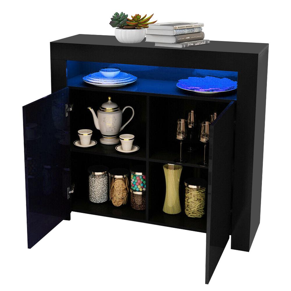thumbnail 7 - Modern 2 Doors Sideboard Kitchen Buffet High Gloss Matt Body LED Storage Cabinet