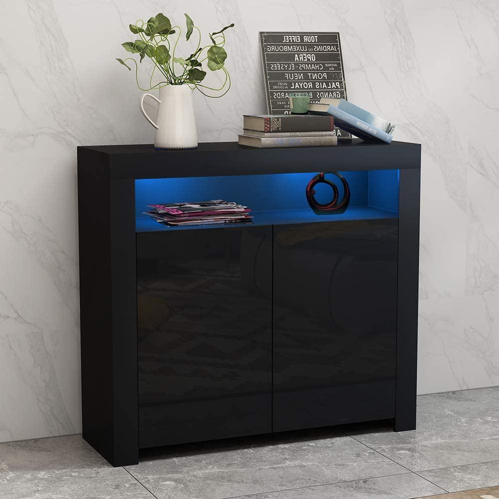 thumbnail 8 - Modern 2 Doors Sideboard Kitchen Buffet High Gloss Matt Body LED Storage Cabinet
