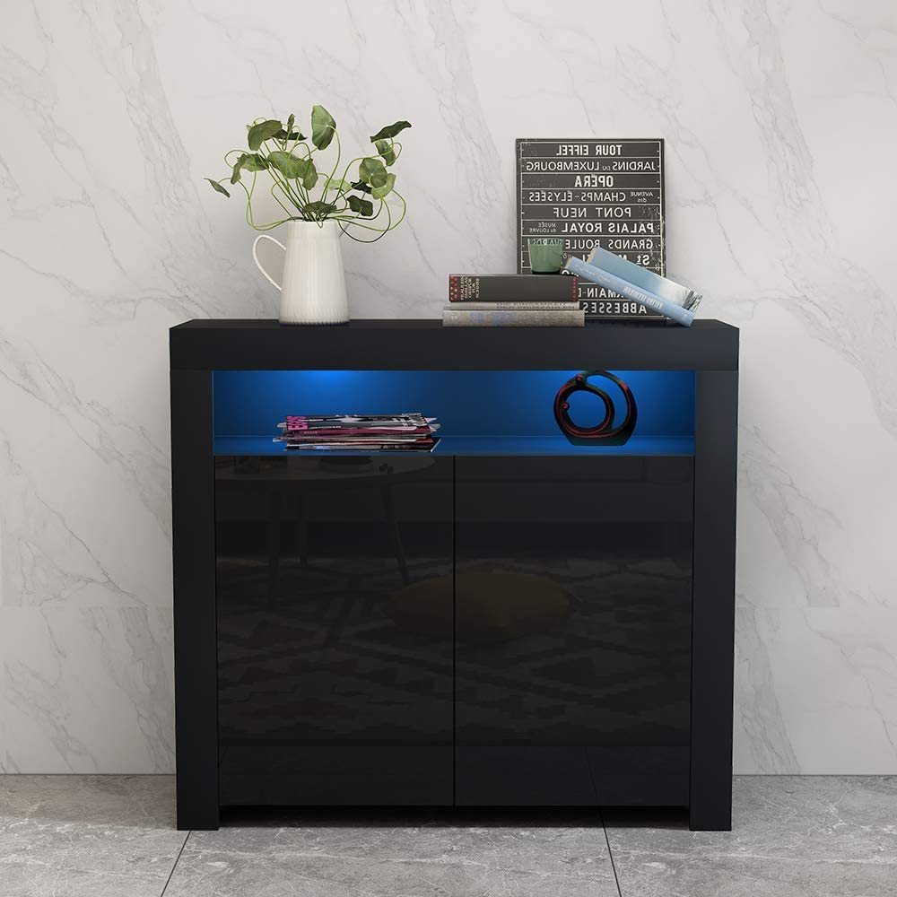 thumbnail 9 - Modern 2 Doors Sideboard Kitchen Buffet High Gloss Matt Body LED Storage Cabinet