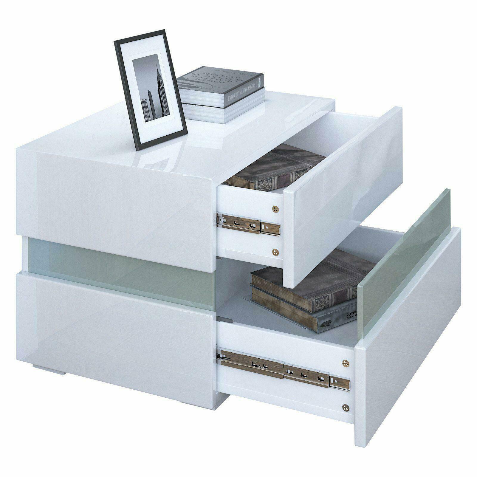 thumbnail 12 - Modern 2 Doors Sideboard Kitchen Buffet High Gloss Matt Body LED Storage Cabinet