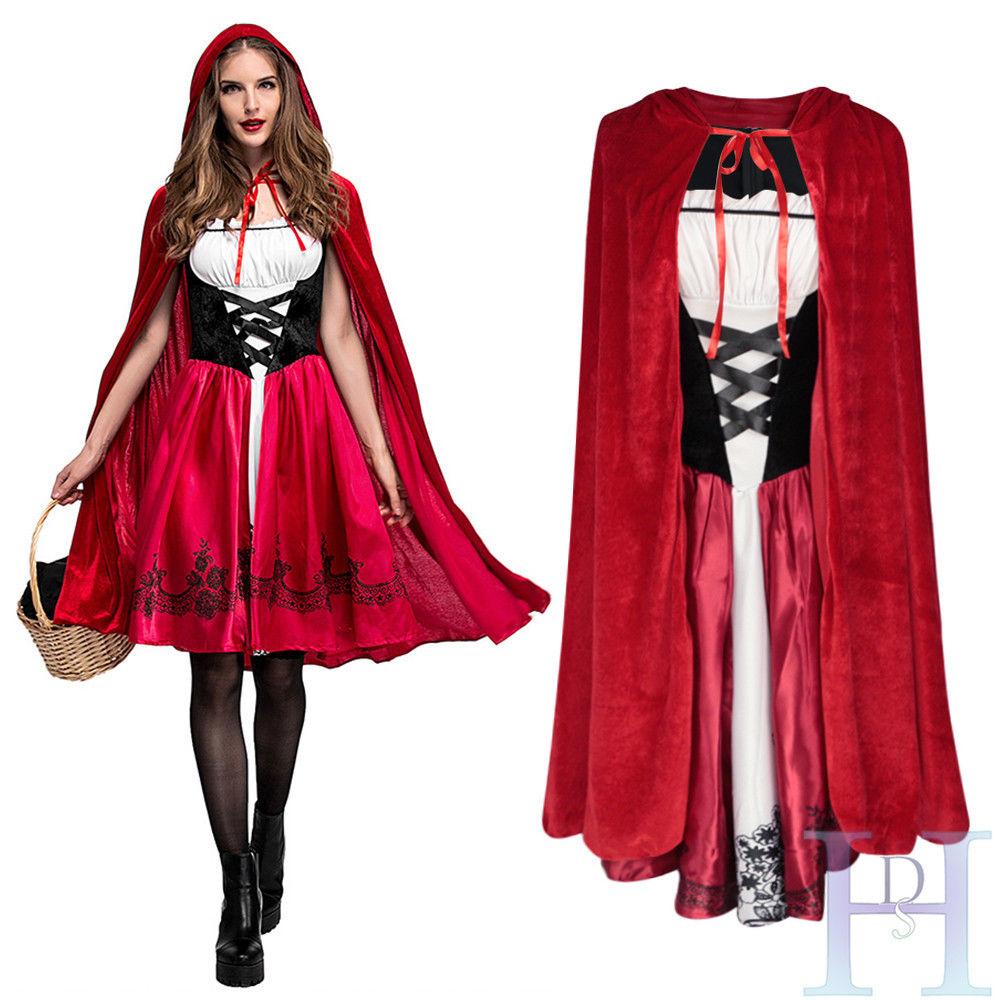 FAIRYTALE LITTLE RED RIDING HOOD CAPE ladies womens fancy dress costume