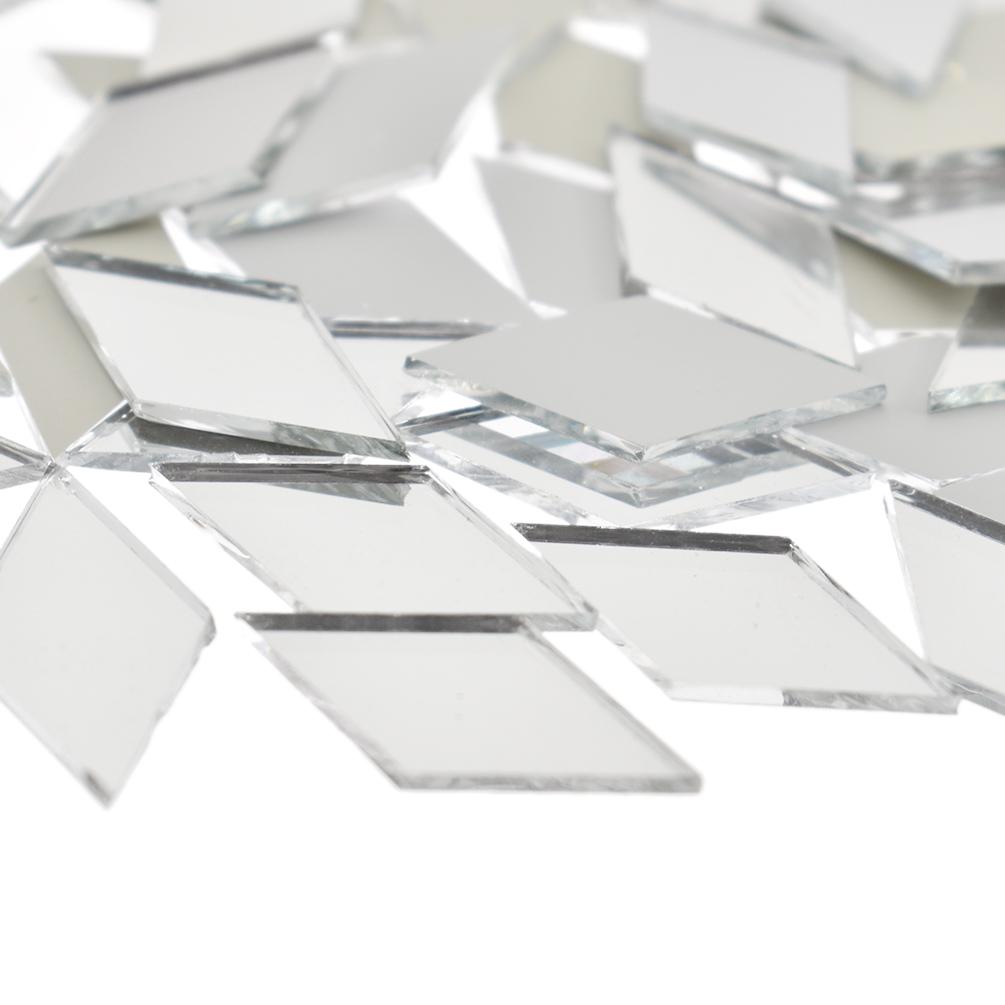 50 PCS Mini Glass Mirror Mosaic Tiles Round Bulk Wall Decal DIY Craft Artwork