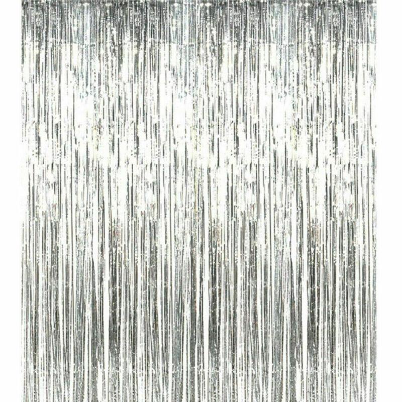 2 3m Foil Fringe Tinsel Shimmer Curtain Birthday Wedding
