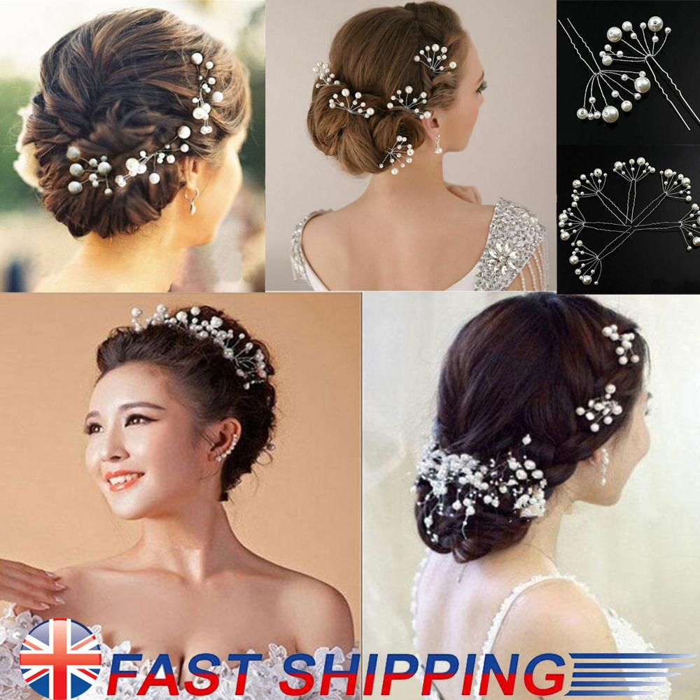 Flower Wedding Hair Pins Bridesmaid Crystal Diamante Pearls Bridal Clips Grips-6