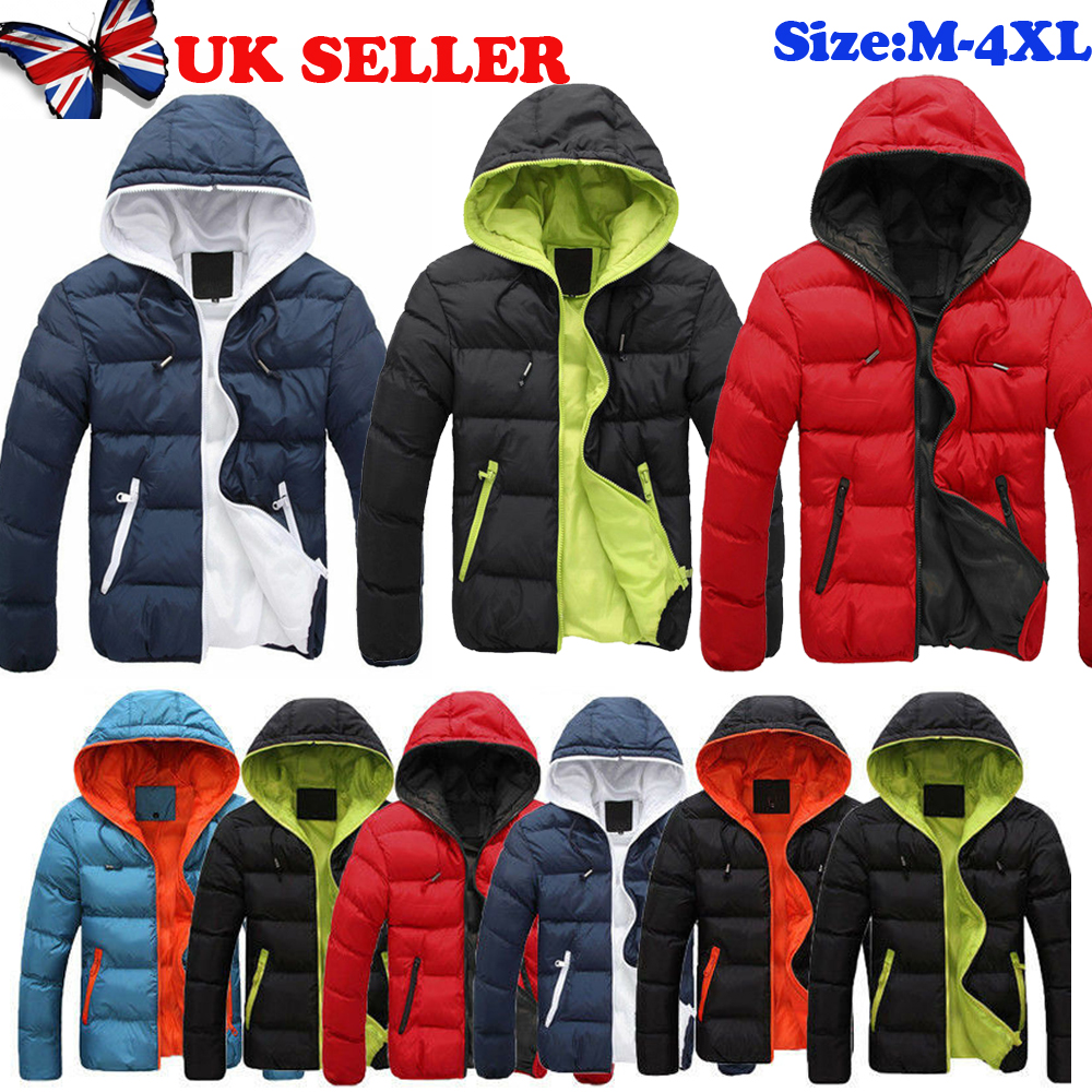 Mens Winter Warm Padded Bubble Hooded Coat Hoodie Puffer Quilted Jacket Parka UK