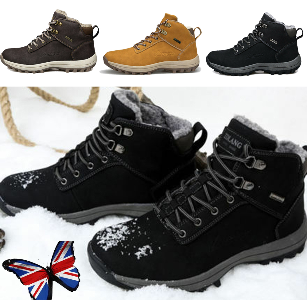 Men/'s Waterproof Ankle Fur Lined Leather Winter Snow Boots Outdoor Hiking Boots