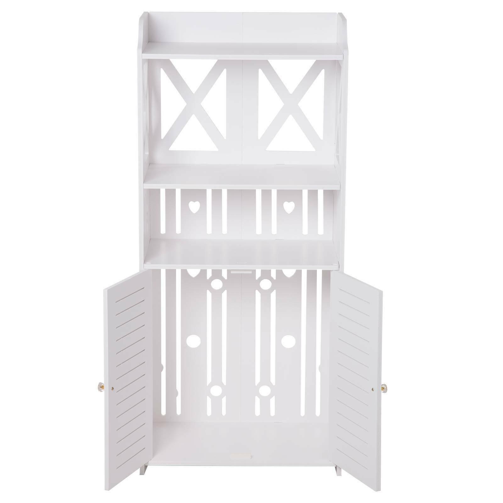 Waterproof Pvc Wooden Bathroom Cabinet Shelf Cupboard Bedroom Storage Unit White Ebay