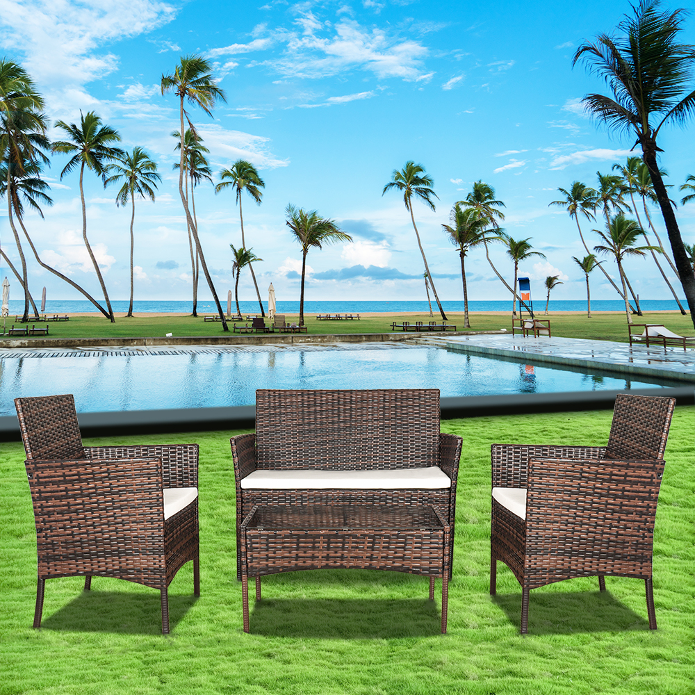Garden Furniture - CUBE RATTAN GARDEN FURNITURE SET CHAIRS SOFA TABLE OUTDOOR PATIO WICKER 4 SEATER
