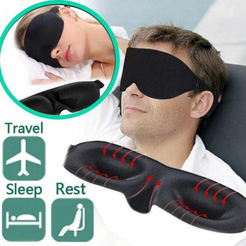 Luxurious Black Padded Eye Mask S4U® 3D Sleep Eye Mask Blackout