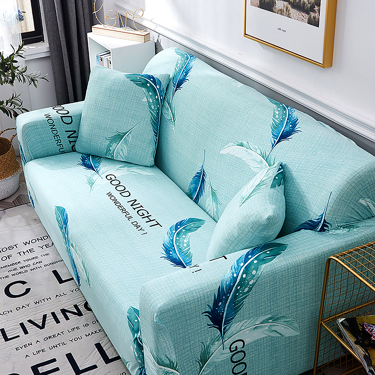 1-2-3-4-SEATER-SOFA-COVERS-Elastic-Fabric-Loveseat-Couch-Settee-Slipcover miniatuur 45