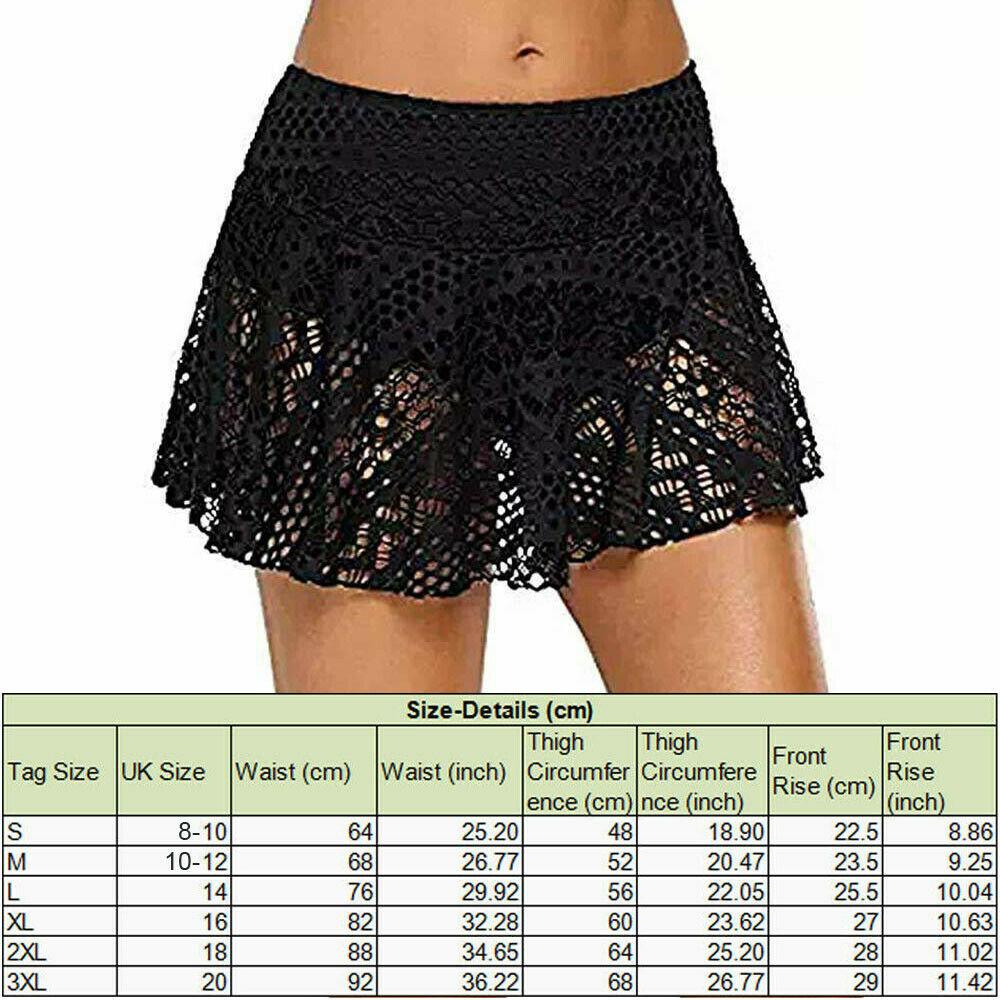 0f34506be1 UK Womens Ladies Swim Bikini Bottoms Monokini Beach Lace Shorts Skirt  Swimwear