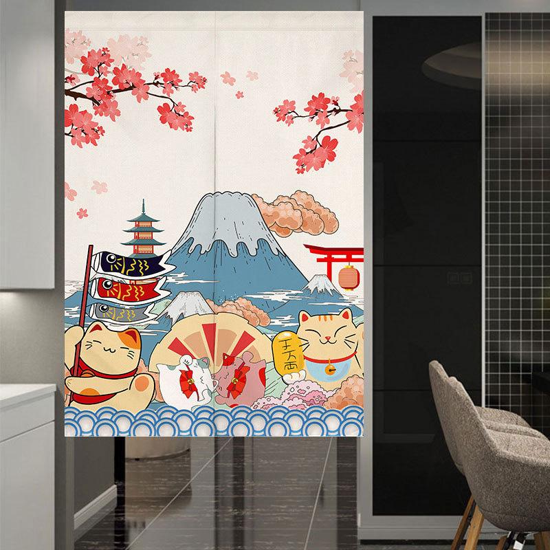 Japanischer-Noren-Tueroeffnung-Vorhang-Getrennt-Tapisserie-Taverne-Restaurant-Kuech Indexbild 10