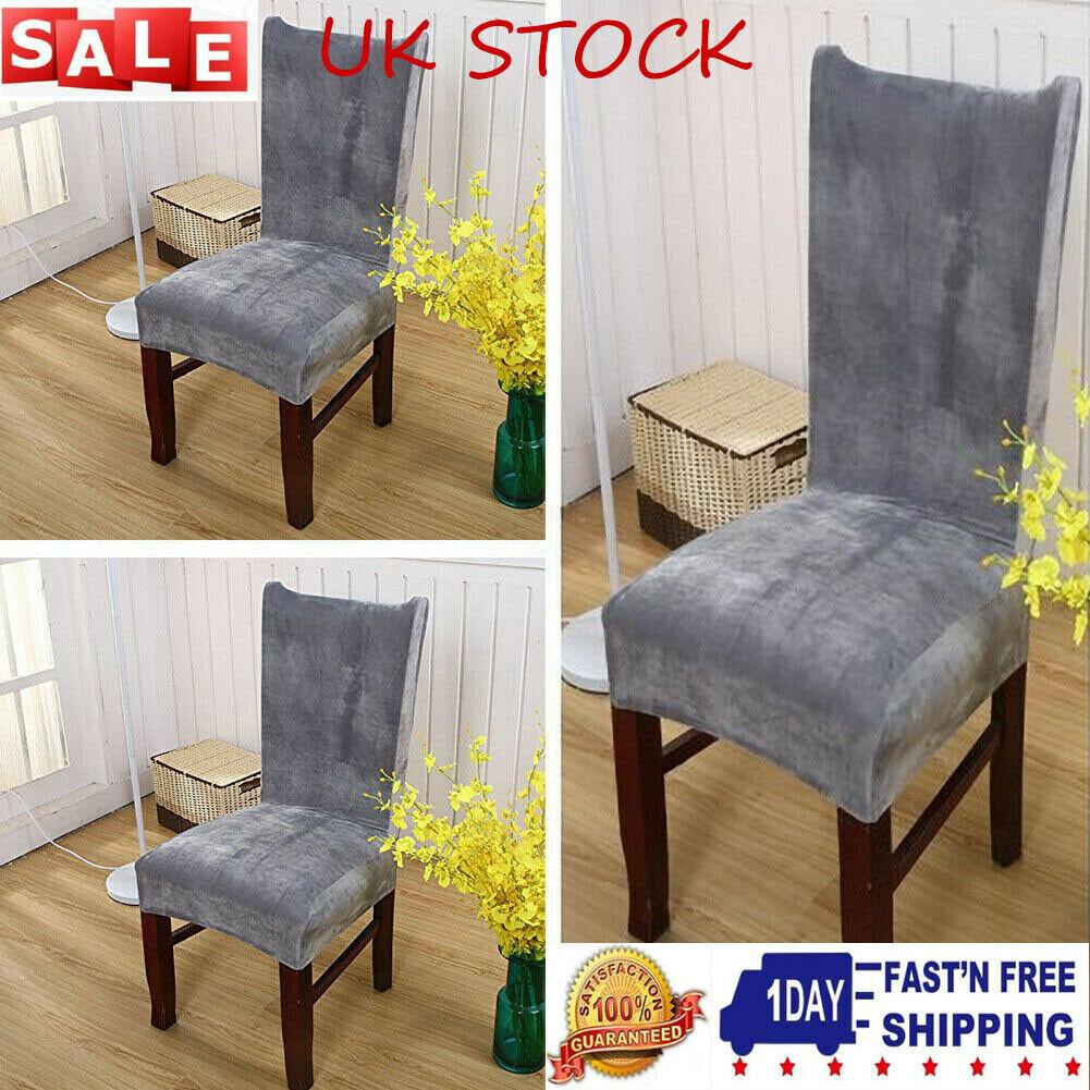 4x Stretch Dining Chair Covers Velvet Slipcover Wedding ...