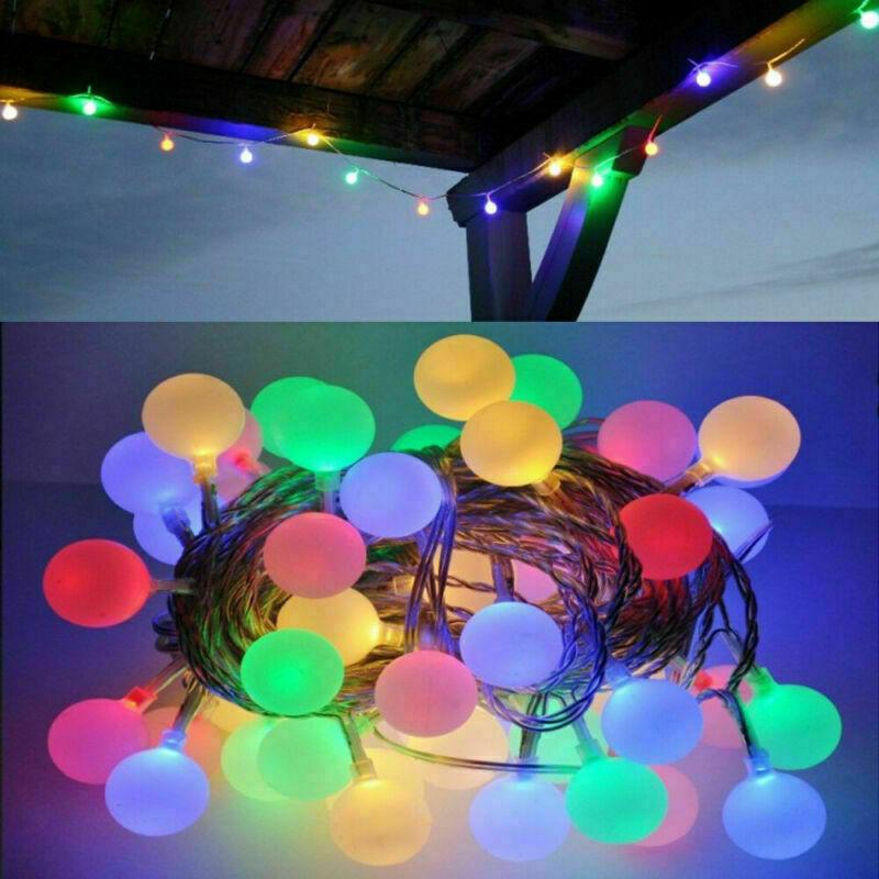EU Stecker LED Lichterkette Kugeln Außen Partylichterkette Gartenbeleuchtung