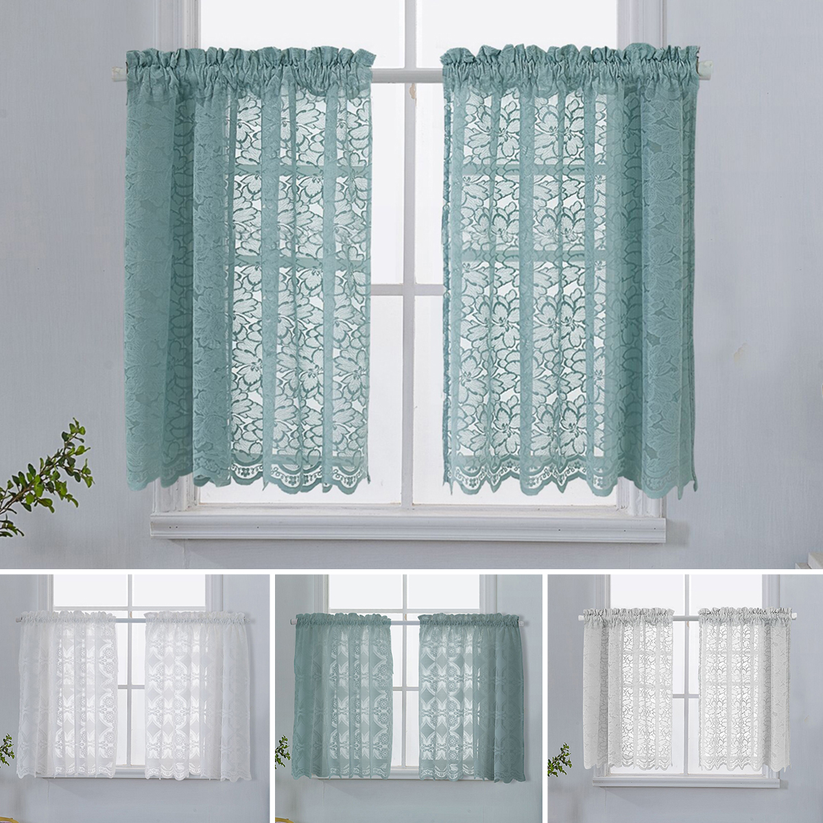 Huis Fruit Colourful Green Voile Cafe Net Curtain Panel Kitchen Curtains Luxclusif Com